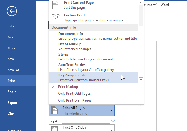 print options in Word for Windows