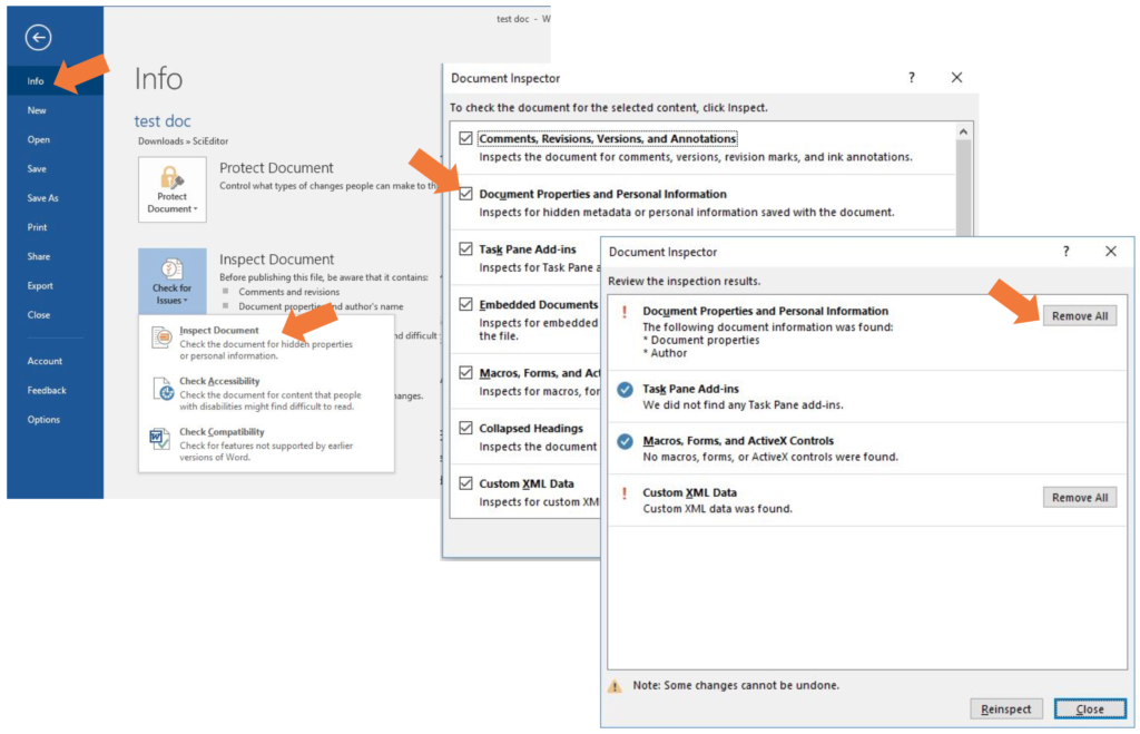 screen grab of dialogue boxes showing the steps to remove personal info from a Word file on a Windows computer