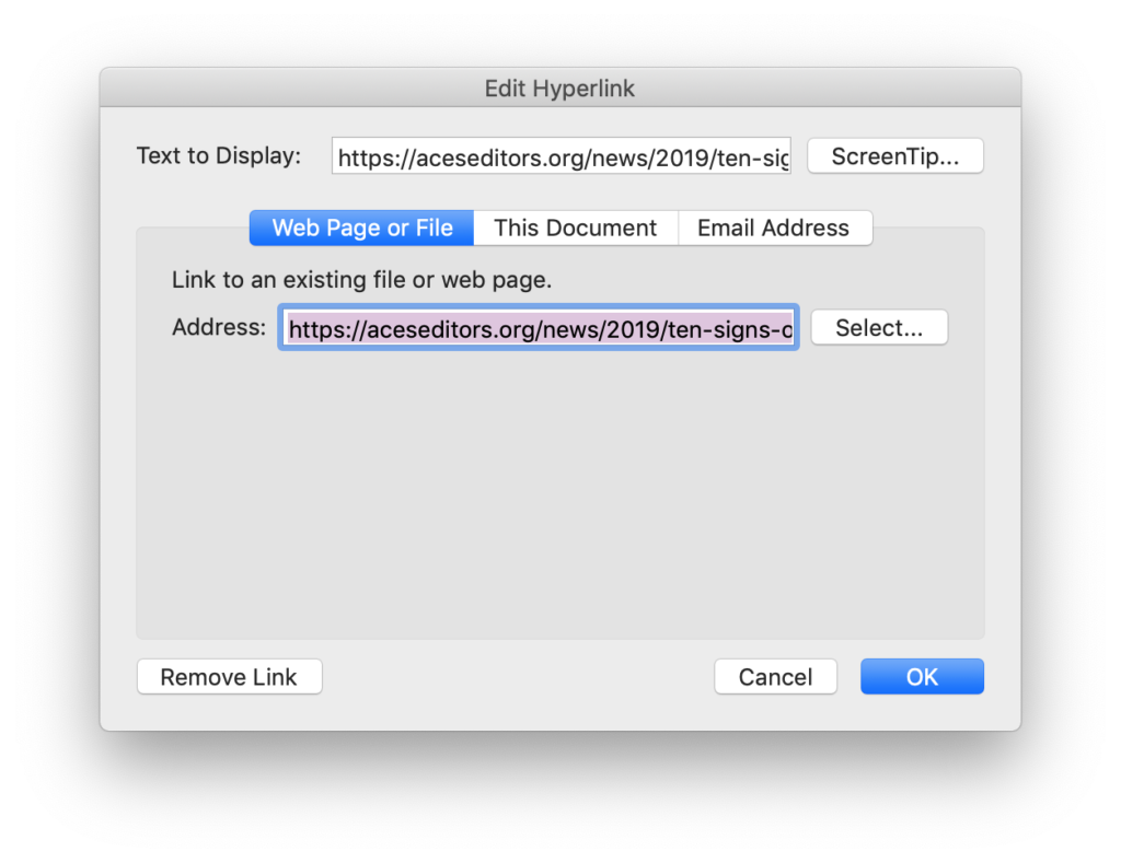 screen shot of the hyperlink control dialog box that opens when you key cmd + K within a hyperlink in Word