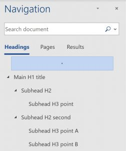 oder of heads: Main H1 title then the rest nested within/below that, Subhead H2 and within/beneath that Sub-subhead H3 points, then back out to subhead H2 second and within/beneath that Subhead H3 point A and Subhead H3 point B